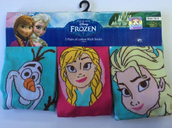 Disney Frozen Kids Socks 3 Pack - Blue & Pink