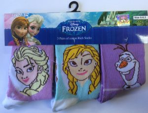 Disney Frozen Kids Socks 3 Pack - Blue & Purple
