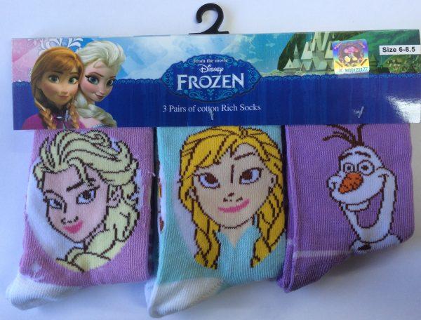 Disney Frozen Kids Socks 3 Pack - Blue & Purple