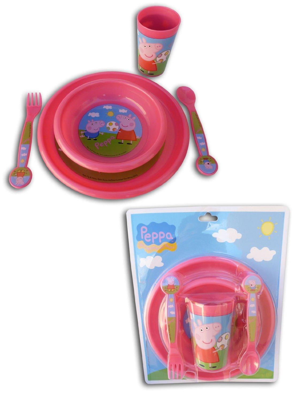 711B0WQiw3L._SL1500_  sc 1 st  Get Retro & Peppa Pig: Pink Child Tableware Set: 2 Plates Bowl Glass Fork ...